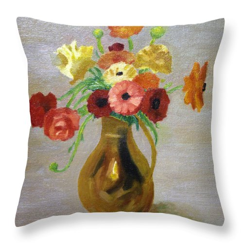 Brian Wallace Throw Pillow featuring the painting Flowers In A Pitcher -11 Yrs Old by Brian Wallace