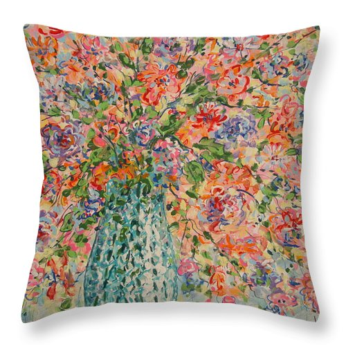 Flowers Throw Pillow featuring the painting Flowers In Crystal Vase. by Leonard Holland