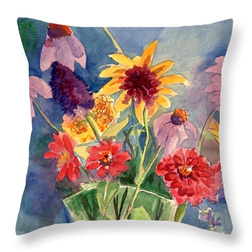 Flowers In Glass Vase Throw Pillow featuring the painting Flowers In Glass Vase by Judy Swerlick