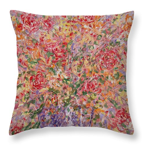 Flowers Throw Pillow featuring the painting Flowers In Purple Vase. by Leonard Holland