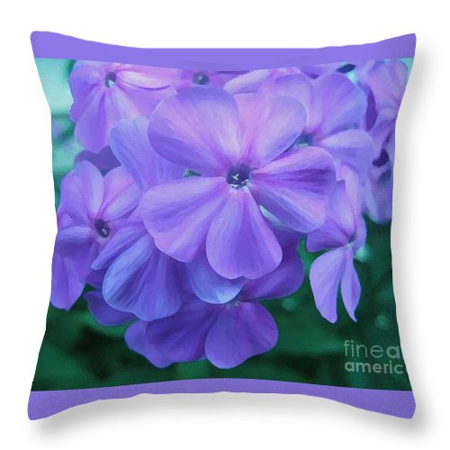 Purple Flowers Artwork Throw Pillow featuring the photograph Flowers In The Garden by Reb Frost