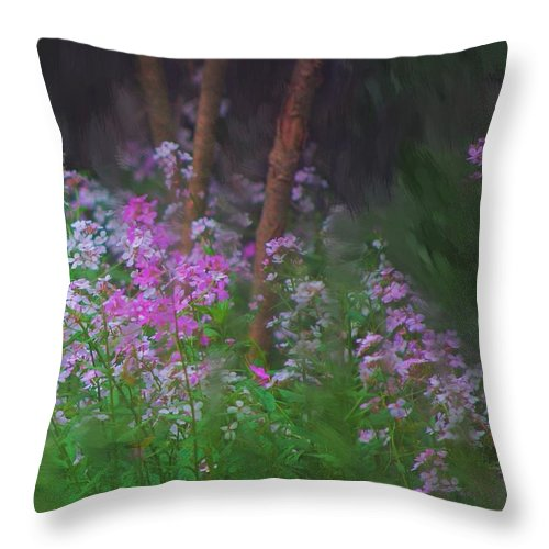 Landscape Throw Pillow featuring the painting Flowers In The Woods by David Lane