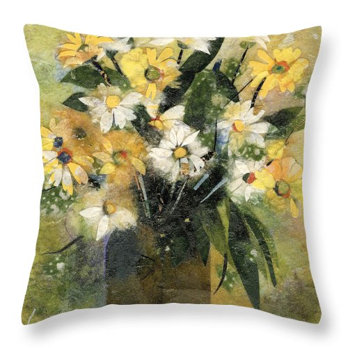 Limited Edition Prints Throw Pillow featuring the painting Flowers In White And Yellow by Nira Schwartz