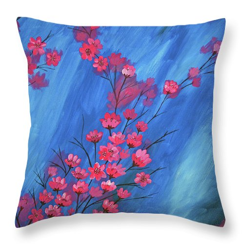 Flowers Throw Pillow featuring the painting Flowers by Laxmi Khire