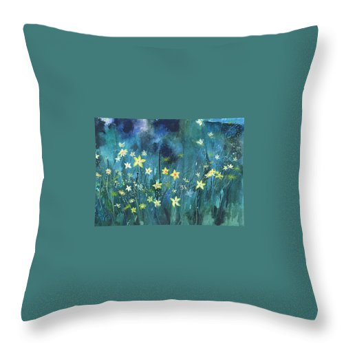 Landscape Throw Pillow featuring the painting Flowers N Breeze by Anil Nene