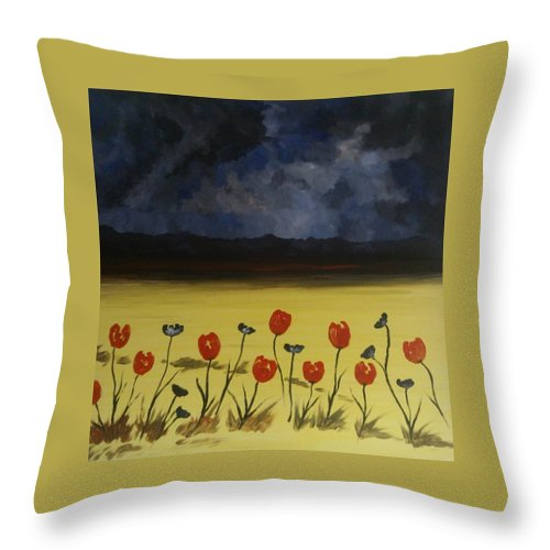 Arran Scotland Throw Pillow featuring the painting Flowers On Arran by Garry Conway