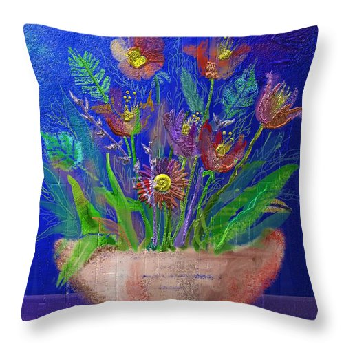 Flower Throw Pillow featuring the digital art Flowers On Blue by Arline Wagner