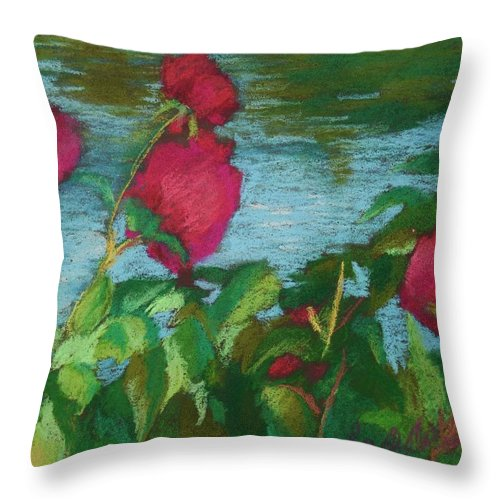 Roses Throw Pillow featuring the painting Flowers On Water by Rachel Rose