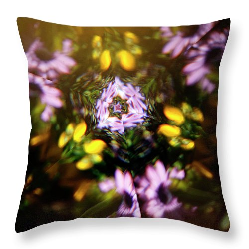 Flowers Throw Pillow featuring the photograph Flowers Thru Kaleidiscope by Marilyn Hunt