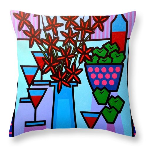 Flowers Throw Pillow featuring the painting Flowers Wine Apples by John Nolan
