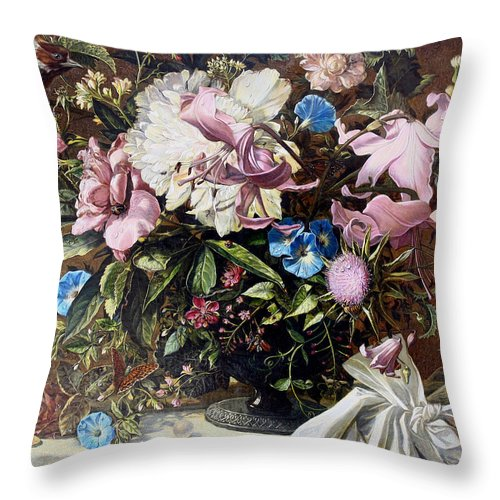 Flowers Throw Pillow featuring the painting Flowers With A Bird by Vladimir Buga