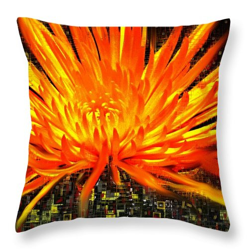 Abstract Throw Pillow featuring the digital art Flowersquared by Ian MacDonald