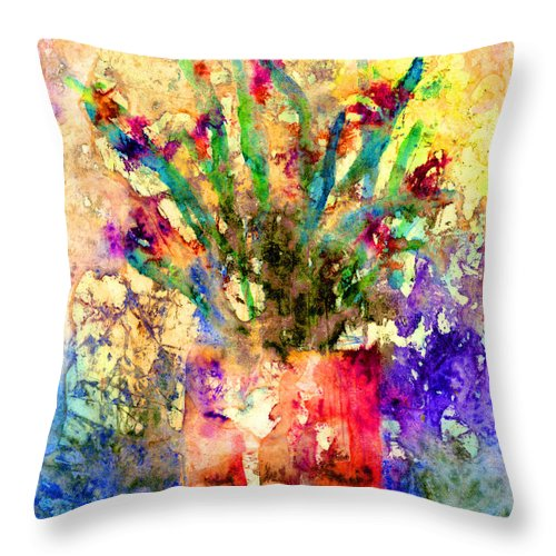 Flower Throw Pillow featuring the mixed media Flowery Illusion by Arline Wagner