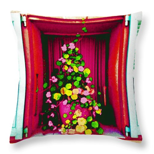 Fleur Throw Pillow featuring the photograph Flowery Window by Jean CHAR