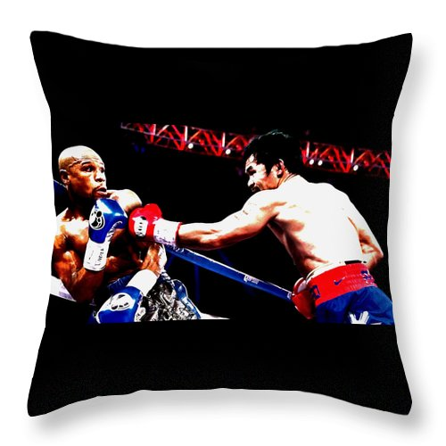 Manny Pacquiao Throw Pillow featuring the mixed media Floyd Mayweather And Manny Pacquiao Going At It by Brian Reaves