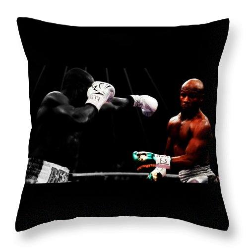 Mayweather Throw Pillow featuring the mixed media Floyd Mayweather Making Them Miss by Brian Reaves