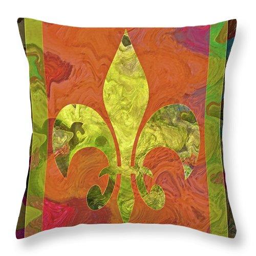 Fluer Throw Pillow featuring the digital art Fluer De Lis by Gwyn Newcombe