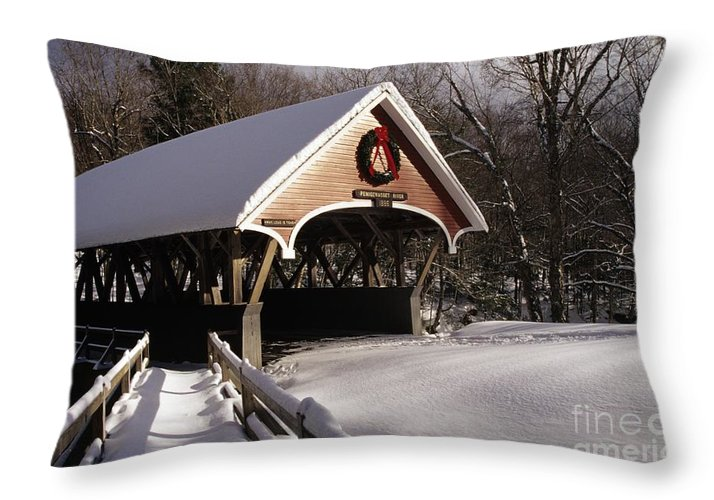 Franconia Notch State Park Throw Pillow featuring the photograph Flume Covered Bridge - Lincoln New Hampshire Usa by Erin Paul Donovan