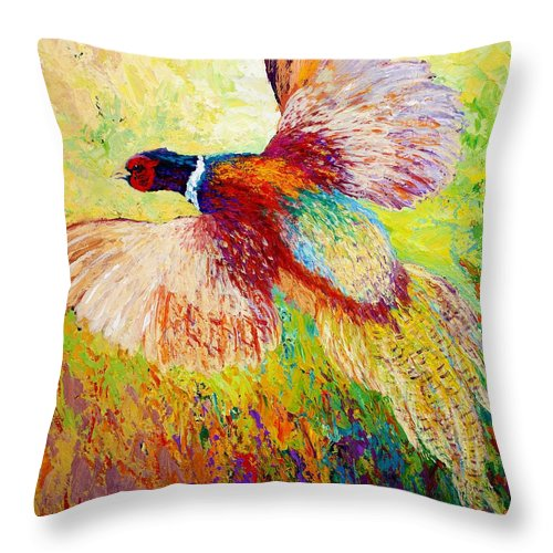 Pheasant Throw Pillow featuring the painting Flushed - Pheasant by Marion Rose