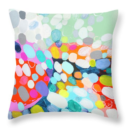 Abstract Throw Pillow featuring the painting Flushed by Claire Desjardins