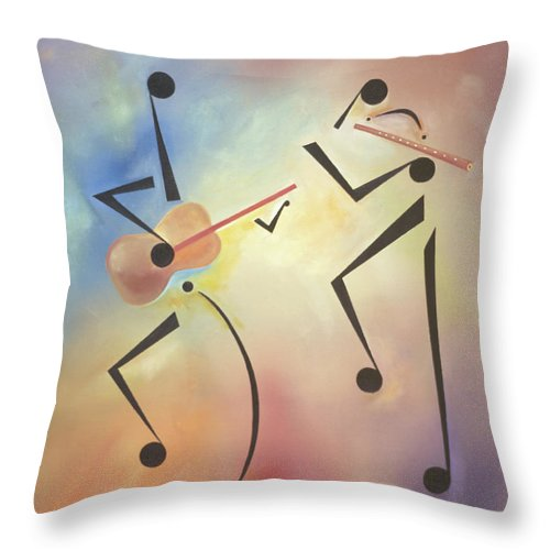 Black Art Throw Pillow featuring the painting Flutina by Ikahl Beckford