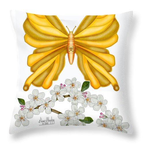 Gold Butterfly Throw Pillow featuring the painting Flutterby and Blooms by Anne Norskog