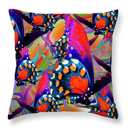 Butterfly Throw Pillow featuring the digital art Fly Away by Betsy Knapp