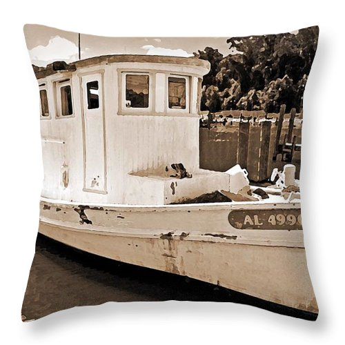 Boat Throw Pillow featuring the painting Fly Creek Work Boat by Michael Thomas