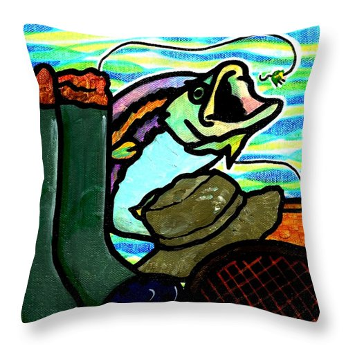 Fly Throw Pillow featuring the painting Fly Fisherman by Jim Harris
