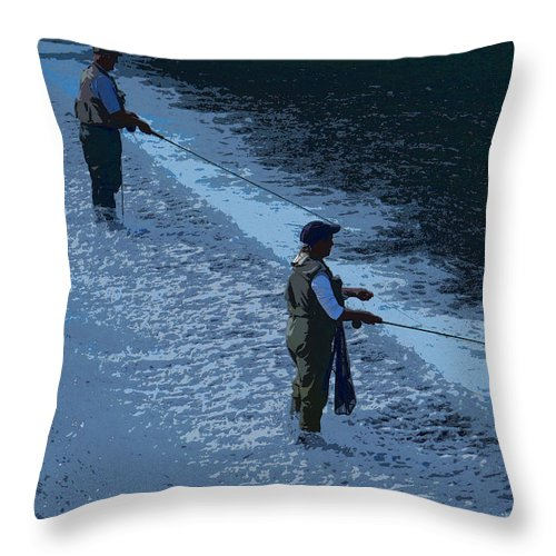 Fishing Throw Pillow featuring the photograph Fly Fishing by Julie Grace