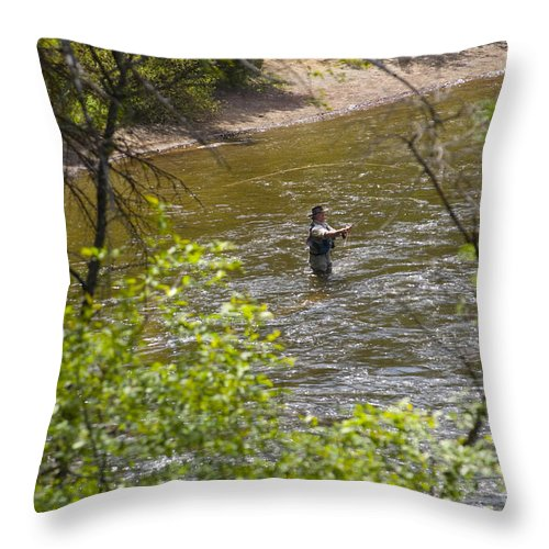Fishing Throw Pillow featuring the photograph Fly Fishing by Louise Magno