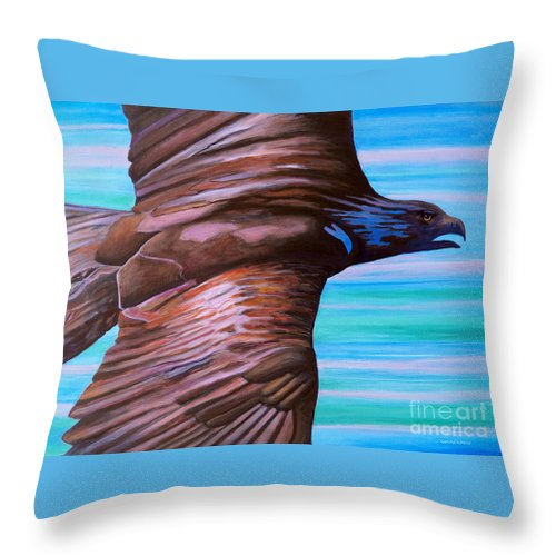 Eagle Throw Pillow featuring the painting Fly Like An Eagle by Brian Commerford