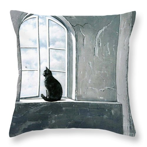 Pet Throw Pillow featuring the painting Fly Watching by Robert Foster