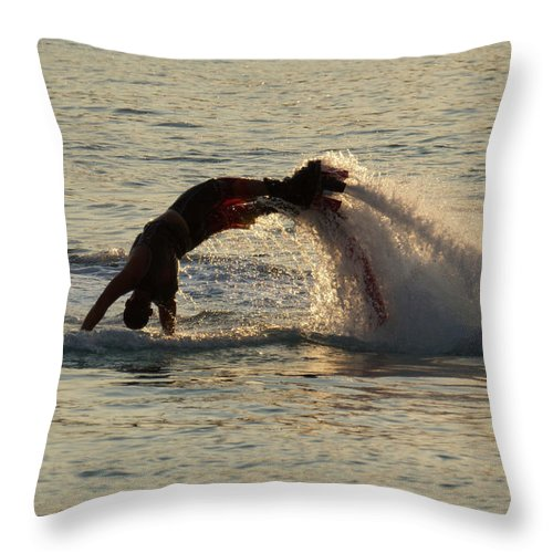 Bodrum Throw Pillow featuring the photograph Flyboarder Diving In Up To His Arms by Ndp