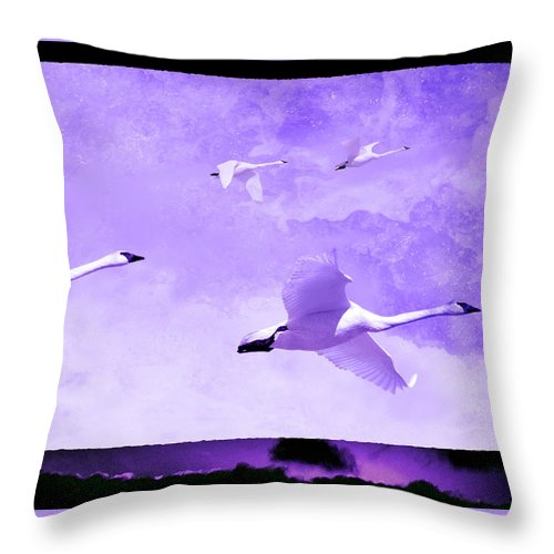 Swan Throw Pillow featuring the photograph Flyers by Ed Hall