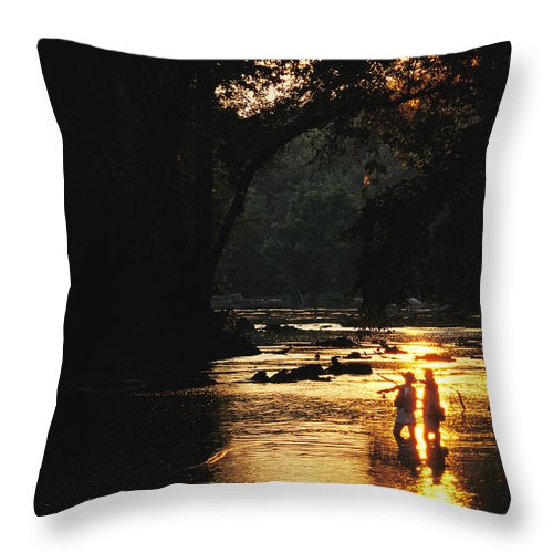 North America Throw Pillow featuring the photograph Flyfishing At Dusk by Skip Brown