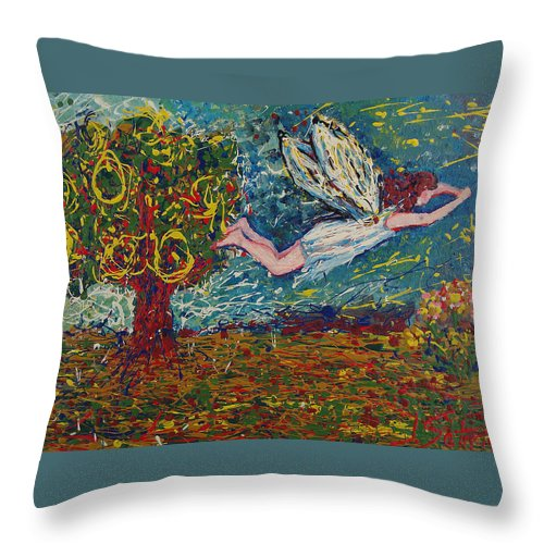 Landscape Throw Pillow featuring the painting Flying Along With The Spirit by Ioulia Sotiriou