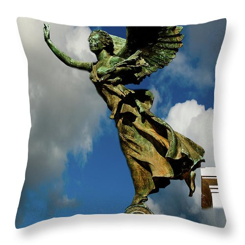 Flying Angel Throw Pillow featuring the photograph Flying Angel by Harry Spitz