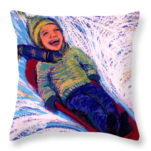 Sledding Throw Pillow featuring the pastel Flying by Art Nomad Sandra Hansen