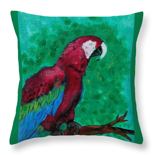 Parrot Throw Pillow featuring the painting Flying Colors by Cori Solomon