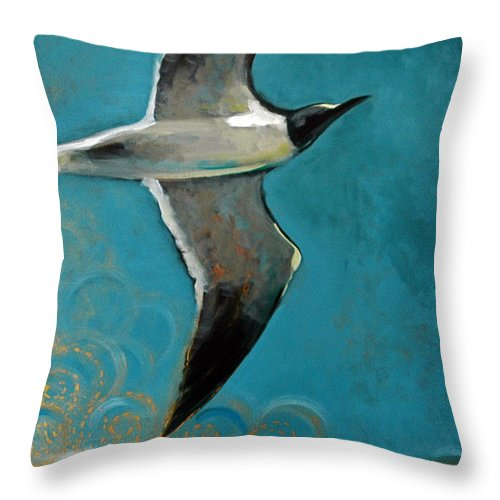 Acrylic Throw Pillow featuring the painting Flying Free by Suzanne McKee