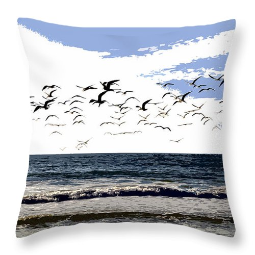 Beach Throw Pillow featuring the painting Flying Gulls by David Lee Thompson