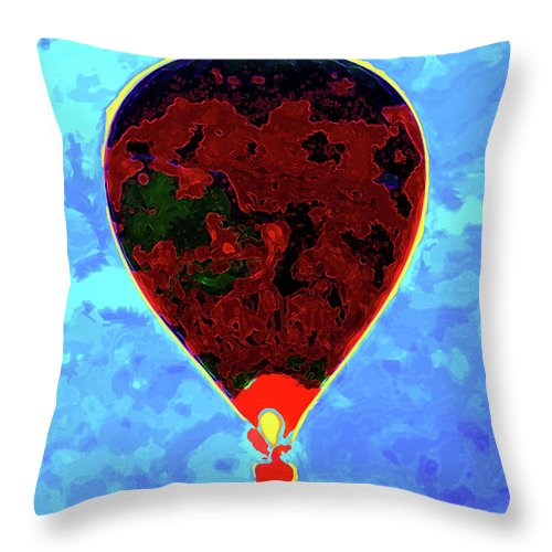 Hot Air Balloon Throw Pillow featuring the photograph Flying High - Hot Air Balloon by P Donovan