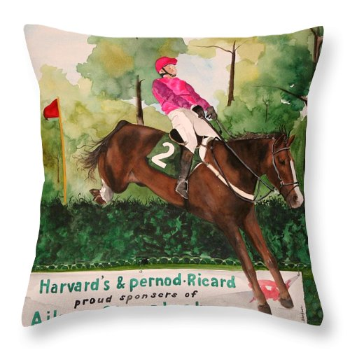Horse Throw Pillow featuring the painting Flying High by Jean Blackmer