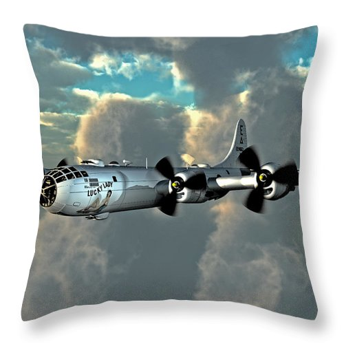 B-29 Superfortress Wwii Bombers 1943 Throw Pillow featuring the digital art Flying Home by Steven Palmer