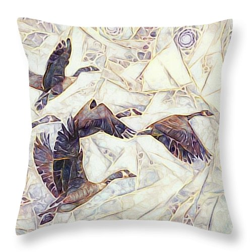 Canadian Geese Throw Pillow featuring the mixed media Flying Home by Susan Maxwell Schmidt