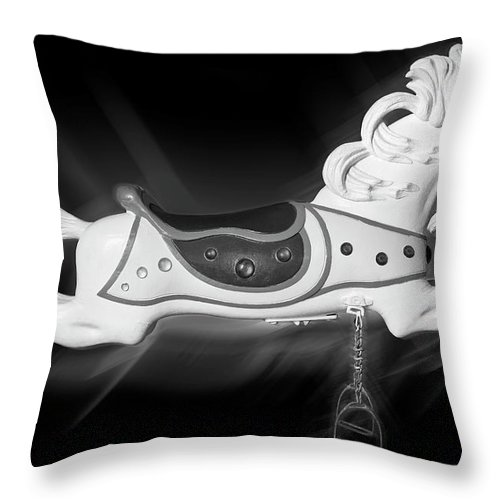 Carousel Horse Throw Pillow featuring the photograph Flying Horse Black And White by Kelley King