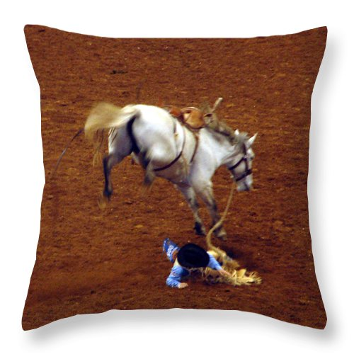 Rodeo Throw Pillow featuring the digital art Flying Lesson by Mark Grayden