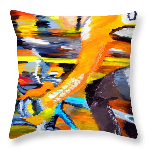Cycling Throw Pillow featuring the painting Flying Orange by Michael Lee