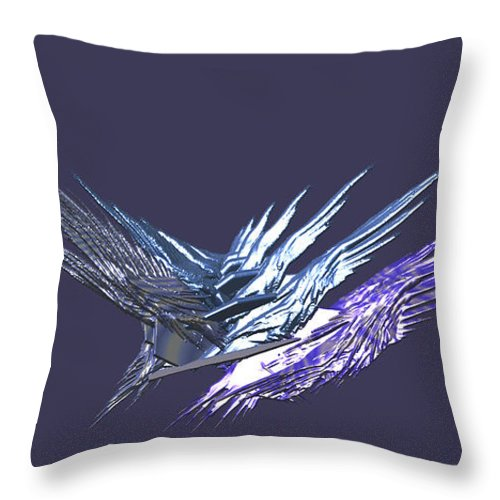 Abstract Throw Pillow featuring the digital art Flying Roacks by Frederic Durville